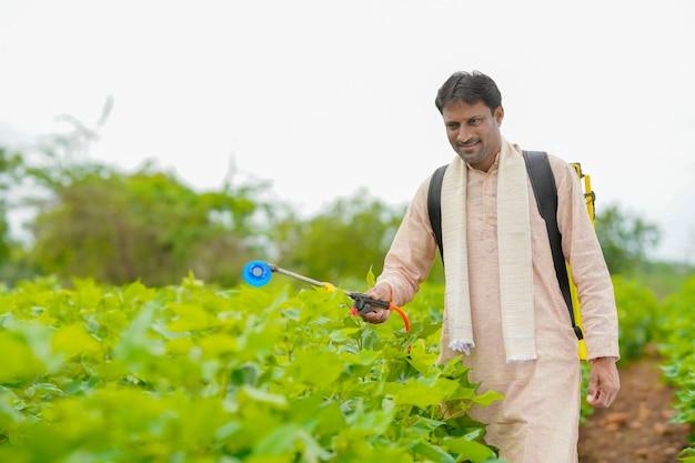 Fermier indien pulvérisant des pesticides dans un champ de coton.