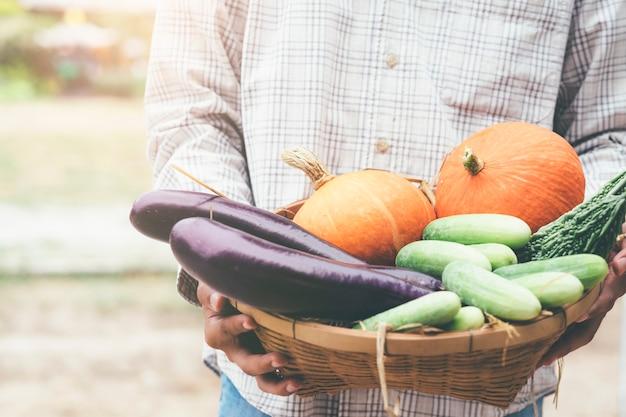Fermier tenant des légumes frais forment son jardin.