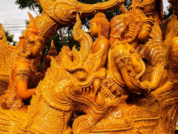 Festival des bougies d'ubon ratchathani, région du nord-est, thaïlande