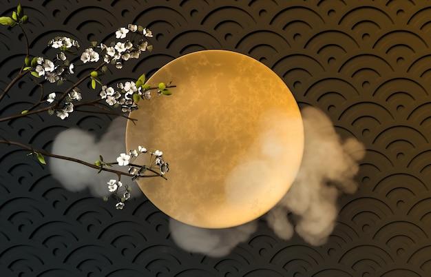 Festival chinois de mi-automne avec assiette dorée vide.