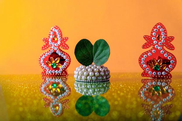 Festival indien dussehra, feuille et riz