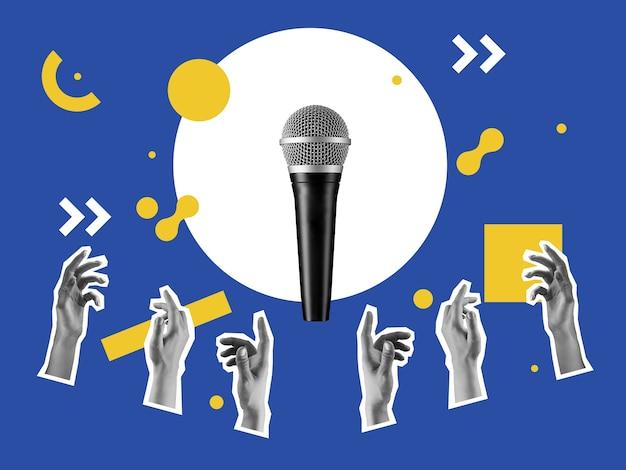 Fête. haut-parleur volant avec les mains des fans sur fond de couleur bleu pastel. copiez l'espace pour l'annonce, le texte. design moderne. artcollage conceptuel et contemporain. style rétro, surréalisme, à la mode.