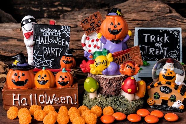 Fête de l'ornement de halloween avec des bonbons et des frijoles