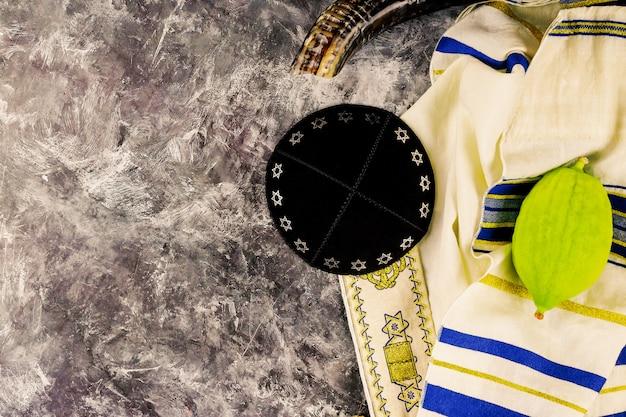 Fête rituelle juive de souccot chez les religieux juifs