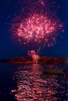 Feu d'artifice de la fête du canada, keewatin, unorganized kenora, kenora, lac des bois, ontario, canad