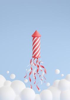 Feu d'artifice lançant et volant jusqu'à l'illustration de rendu 3d. fusée rayée rose et blanche avec des étincelles et des confettis, des nuages de fumée sur fond bleu pour la célébration des vacances et les félicitations.