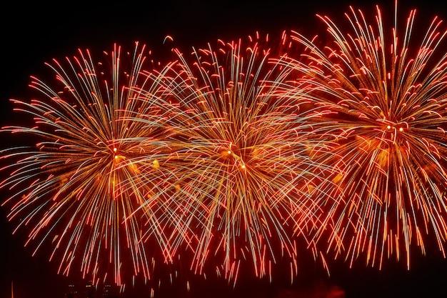 Feu d'artifice lumineux coloré de célébration dans un ciel nocturne
