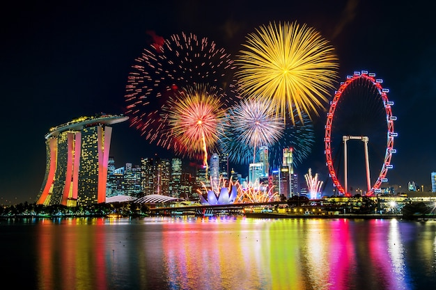 Feu d'artifice à singapour.