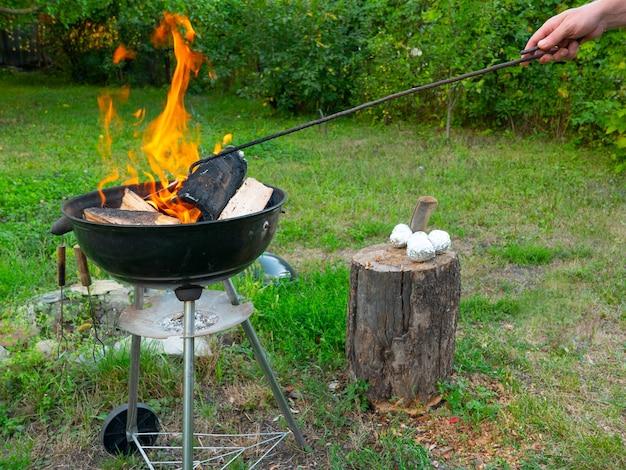 Feu de barbecue fraîchement allumé avec des bûches de bois brûlant sur de petits copeaux de bois d'allumage dans un barbecue portable