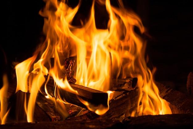 Feu de camp dans la nuit, brûlant des bûches de bois