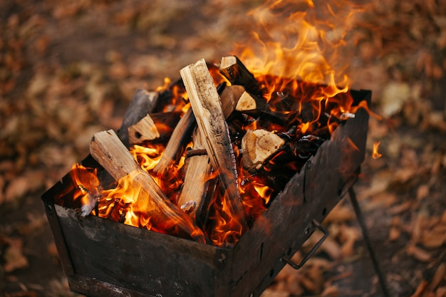 Le feu dans le grill