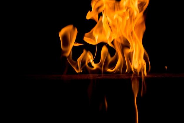 Feu flammes sur fond noir. feu vif et coloré contre une nuit noire.
