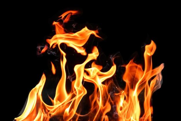 Feu, isoler les flammes sur un fond noir. concept barbecue grillade week-end.