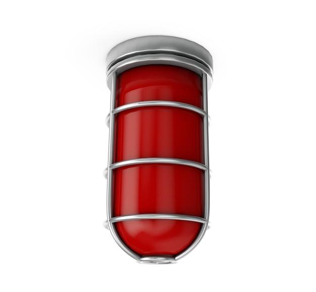 Feu rouge - isolé sur blanc rendu 3d d'alarme