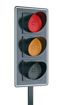 Feu rouge et jaune au feu de circulation. rendu 3d