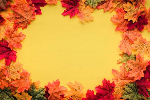 Feuille d'automne sur le plancher de texture de couleur avec un espace de copie gratuit pour vos idées textes