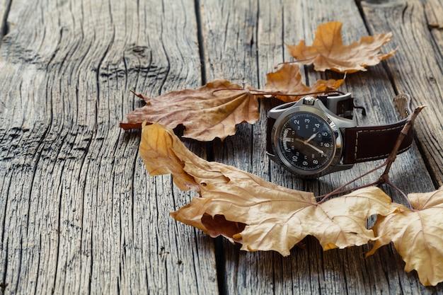 Feuille d'automne et regarder. assaisonnement concept d'heure d'été