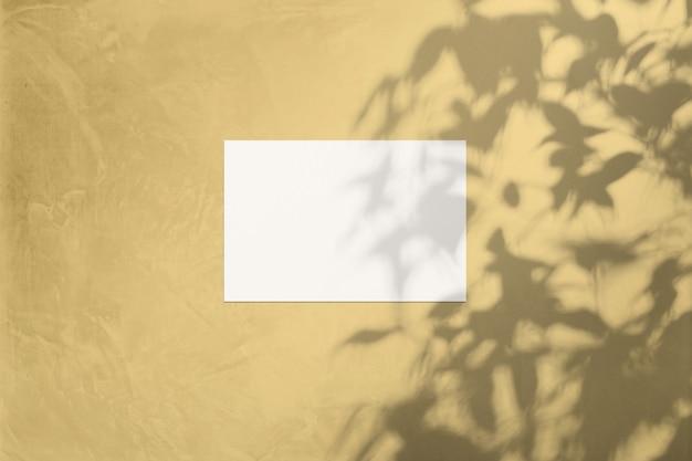 Feuille blanche sur un mur de couleur jaune soleil avec une ombre d'un arbre