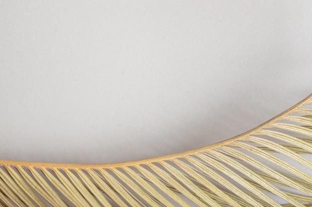 Feuille de branche jaune sur surface beige