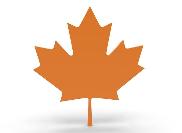 Feuille d'érable canadienne sur fond blanc