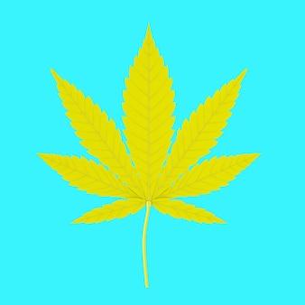 Feuille de marijuana médicale jaune ou de chanvre de cannabis dans un style bicolore sur fond bleu. rendu 3d