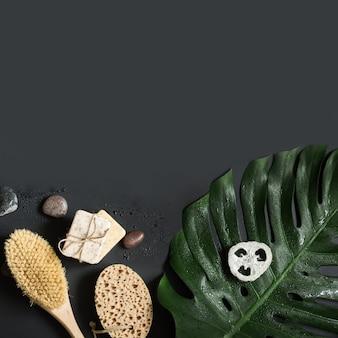 Feuille de monstera, pinceau, spa pour massage cellulite et bien-être