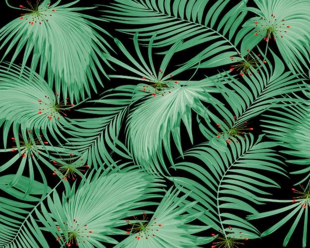 Feuille de palmier et de fleurs tropicales vertes