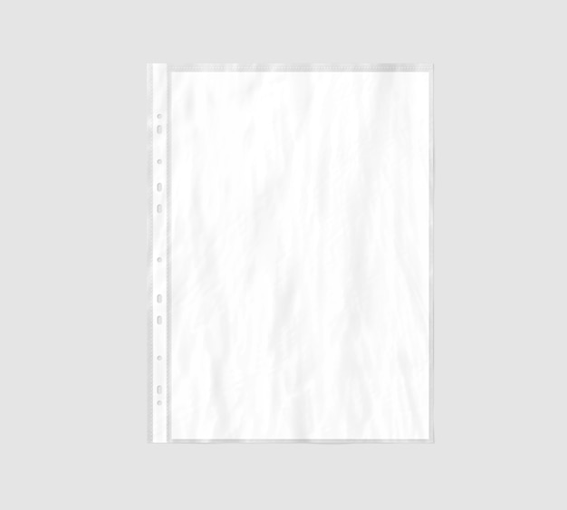 Feuille de papier a4 blanc vierge dans une pochette en plastique transparente