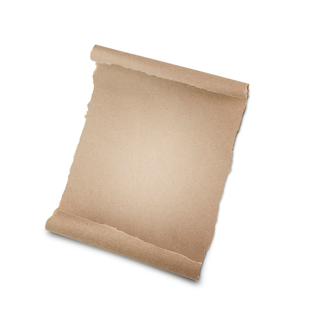 Feuille de papier kraft sur mur blanc isolé