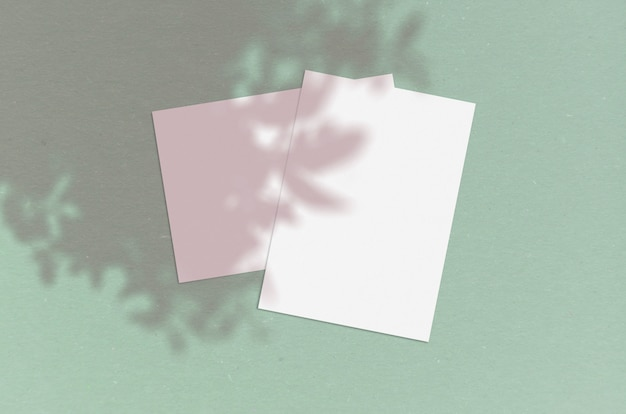 Feuille de papier vertical blanc vierge avec superposition d'ombre.