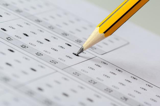 Feuille de résultats du test avec les réponses