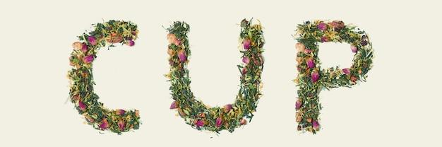 Feuille de thé avec des fleurs et des fruits mot coupe, vue de dessus