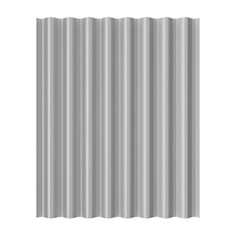 Feuille de vague galvanisée en métal en acier pour le toit sur un fond blanc. rendu 3d