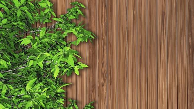 Feuilles 3d contre une texture en bois