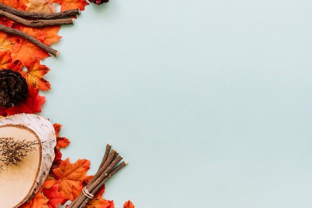 Feuilles d'automne et bâtons à plat
