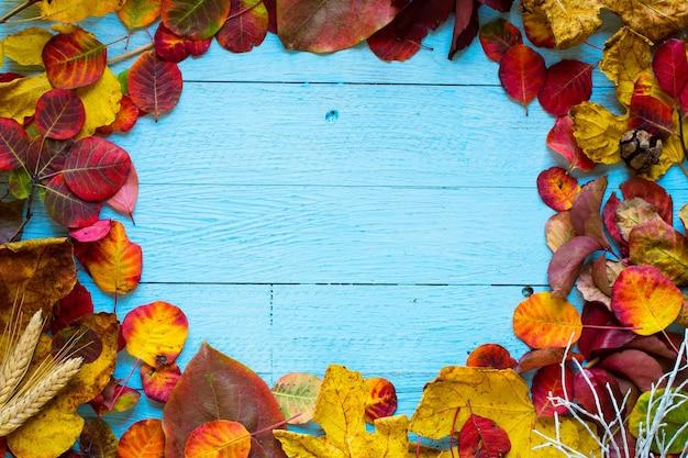 Feuilles d'automne coloré sur un fond en bois