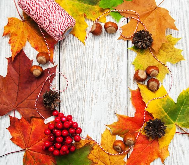 Feuilles d'automne colorées et noisettes