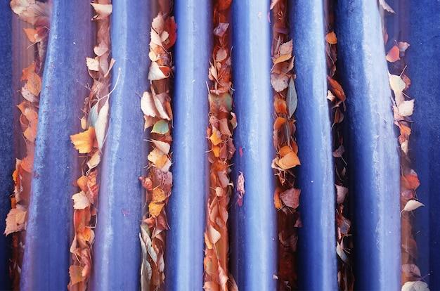 Feuilles d'automne dans l'arrière-plan de l'objet des canaux d'égout