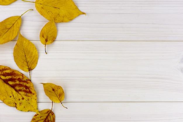 Feuilles d'automne jaune sur un fond en bois blanc avec fond