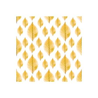 Feuilles d'automne jaunes sur fond blanc motif carré carte postale imprimable