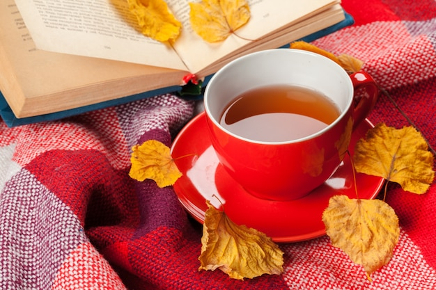 Feuilles d'automne, livre et tasse de thé