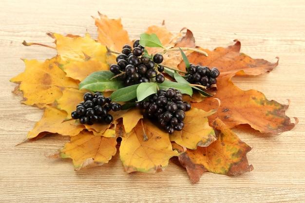 Feuilles d'automne lumineuses et baies sauvages, sur une surface en bois