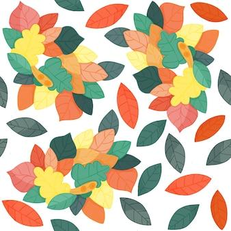 Feuilles d'automne modèle sans couture sur blanc. feuilles vertes, jaunes, rouges et oranges.