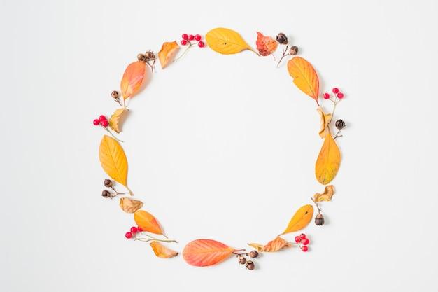 Feuilles d'automne plat poser cadre rond
