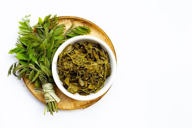 Feuilles bouillies de senna siamea dans un panier en bambou sur une surface blanche
