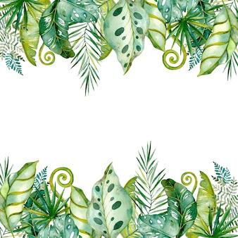 Feuilles et branches tropicales peintes à l'aquarelle. fond de cadre, collection florale exotique colorée de palmier, monstera, feuilles de bananier.