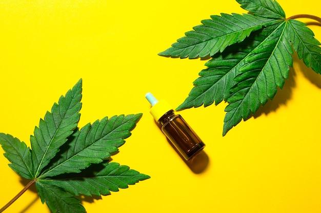 Feuilles de chanvre sur fond jaune avec une bulle d'huile cosmétique. le cannabis pour la santé et la beauté, les superaliments, les soins de la peau, le pouvoir de la nature.
