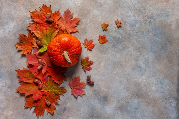 Feuilles d'érable automne brillant, citrouille et noisettes sur un fond vintage.