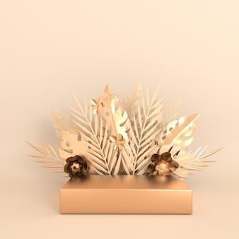 Feuilles et fleurs de monstera en papier tropical encadrent la plate-forme de podium pour la présentation du produit