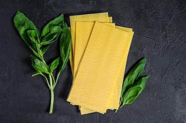 Feuilles de lasagne crues et feuilles de basilic. vue de dessus.